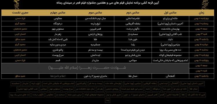 جدول نمایش فیلمهای جشنواره در سینمای رسانه